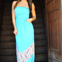 Chevron Forever Maxi Dress: Teal/Ivory | Hope's