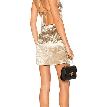 by the way. Astrid Cross Back Mini Dress in Gold