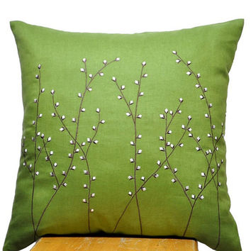 Pussy Willow Pillow Cover, Decorative Throw Pillow Cover, Green Linen Pillow Pussy Willow Embroidery, Pillow Cover 18 x 18, Green Cushion