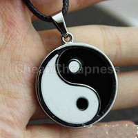 Ying Yang Pendant Black White Necklace Charm PU Leather Cord