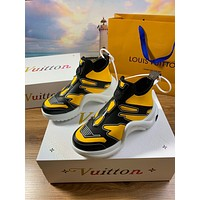 LV Louis Vuitton Men's And Women's Leather Fashion Sneakers Shoes