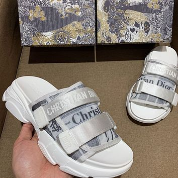 Dior women's velcro canvas letters outer wear holiday slippers shoes