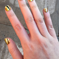 Yellow Gold Metallic Chrome Artificial Press On Nails