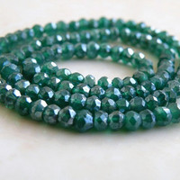 Mystic Green Onyx Rondelle AAA Emerald Green Faceted 3.5mm 1/2 Strand Wholesale