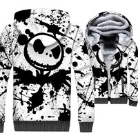 Mens Sweatshirts For Autumn Winter Thick Zipper Jacket 2018 Streetwear Jack Skellington 3D Print Hoodies Men SKULL Hip Hop Hoody