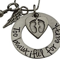 Hand Stamped Jewelry - Too Beautiful For Earth - Remembrance Necklace