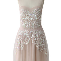 Dazzle Me Embellished Mesh Dress in Peach