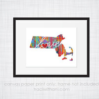 Massachusetts Love - MA Canvas Paper Print:  Grunge, Watercolor, Rustic, Whimsical, Colorful, Digital, Silhouette, Heart, State, US