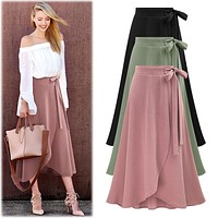 WHWH Womens Skirts Summer Elegant Vintage Asymmetric High Waist Casual Party Beach Fitted Long Skirt Plus Size 6XL Ladies Jupe