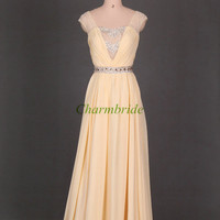 yellow chiffon prom dresses with sequins and rhinestone / elegant floor length gowns for evening party / cheap holiday dress long