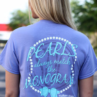 Pearls Always Match the Monogram on Violet -CLOSEOUT
