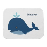 Cute Blue Whale Personalized Baby Burp Cloth