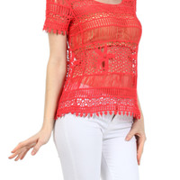 Cap Sleeve Open Knit Crochet Top