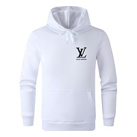 LV 2019 new letter printing men and women models wild casual hooded sweater White