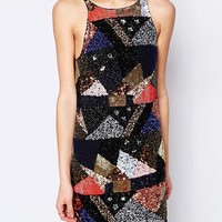 Glamorous Sequin Patchwork Dress at asos.com