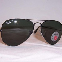 [FREE SHIPPING] New RAY BAN AVIATOR Sunglasses 3025 002/58 BLACK/GREEN Polarized 55mm Authentic