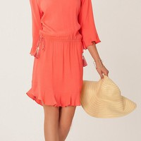 Coral Crocheted Viscose Crepe Dress