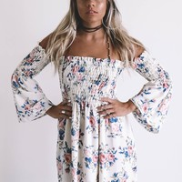 Calm And Carefree Ivory Floral Dress