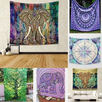 CREYU3C Indian Elephant Mandala Tapestry Hippie Wall Hanging Tapestries Beach Throw Towel Yoga Mat Gypsy Bedspread Home Decor 150*130cm