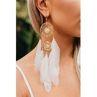 Hailey Dream Catcher Drop Earrings (White/Gold)