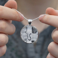 Violin Song 1 inch round glass art pendant silver by sacari