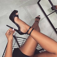 Fashion Women's Gliding Slippers High Heels Belts Belts Cape Gladiators High Heels Sexy Party Shoes