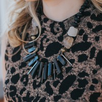Spiked Stone Necklace, Black
