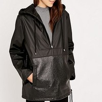 Sparkle & Fade Contrast Black Pullover Jacket - Urban Outfitters