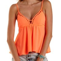 Fiery Coral Strappy Cut-Out Swing Tank Top by Charlotte Russe