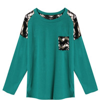 Green Sequined Long Sleeve T-shirt