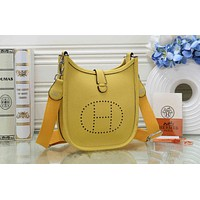 Hermes New Popular Women Leather H Letter Shoulder Bag Crossbody Satchel Yellow