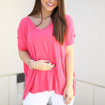 Piko V neck Top Short Sleeve - french rose