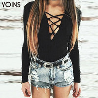 YOINS Sexy Deep V-Neck Lace Up Jumpsuit Romper Women Tops Elastic Slim Long Sleeve Short One Piece Bodysuit