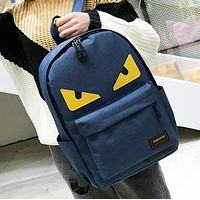 Fendi New fashion eye canvas couple backpack bag Blue