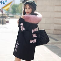 2016 New Winter Coat Women Jacket Faux or Real Fur Collar Hooded Women's Long  Cotton Jacket Parka Casaco
