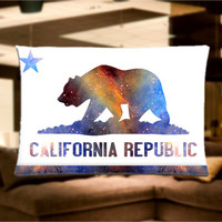 """California State Flag Galaxy, Bear Pillow Case Cover Bedding 30"""" x 20"""" Great Gift"""