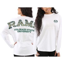 Women's Colorado State Rams White Aztec Sweeper Long Sleeve T-Shirt