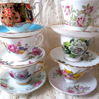 Mismatched Floral China Teacup Sets.  Teacup and Saucers.  Bone China. Shabby Chic Tea Party, Bridal Shower, Alice in Wonderland. Floral.