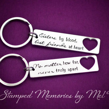 Sisters, Best Friends at Heart - Hand Stamped Aluminum Personalized Key Chain Set - Sister and Best Friend Keychains - Matching Bestie Set