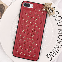 DIOR new all-inclusive anti-fall female diamond iphonex mobile phone case soft shell Red