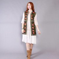 Vintage 60s VEST / 1960s Boho Ethnic Silk Embroidered Long Gypsy Waistcoat