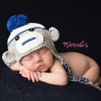 Melondipity's Blue and Grey Baby Boy Sock Monkey Crochet Hat (12-24 months)