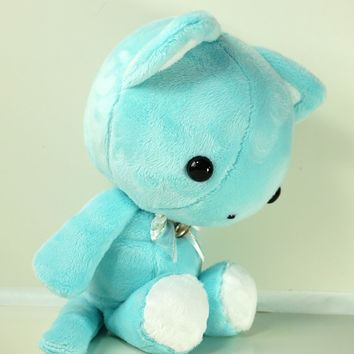 Cute Bellzi Stuffed Animal Teal w/ White Contrast Cat Plushie Doll - Kitti