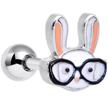 "16 Gauge 1/4"" Nerdy Easter Bunny Cartilage Tragus Earring"