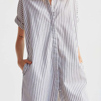 Ecote Yarn Dyed Button-Down Shirt Dress   Urban Outfitters