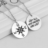 """Fashion Unisex Couple Alloy Letter Necklace """" Not All Who Wander Are Lost"""" and compass Pendant Necklace For Women Men Jewelry"""