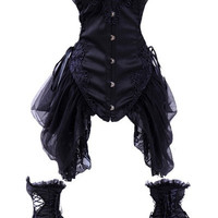 Women sexy steampunk corset sheer lace trim embroidered chiffon side draped waist training corset dress black white 4337 = 1929888772