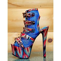 Privileged Vlush Red Blue Multi Mesh Net Ankle Boot Open Toe High Heel Shoes
