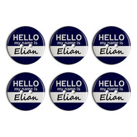 Elian Hello My Name Is Plastic Resin Button Set of 6