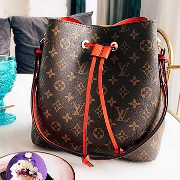 Louis Vuitton LV Classic Fashion Women Leather Handbag Shoulder Bag Crossbody Satchel Bucket Bag